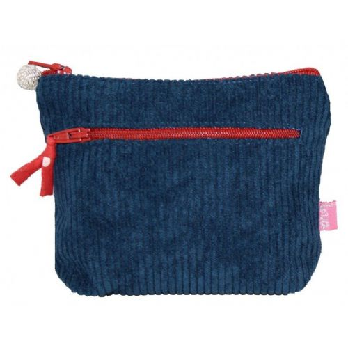 Lua Corduroy Two Zip Coin Purse in Teal with Brick Trims
